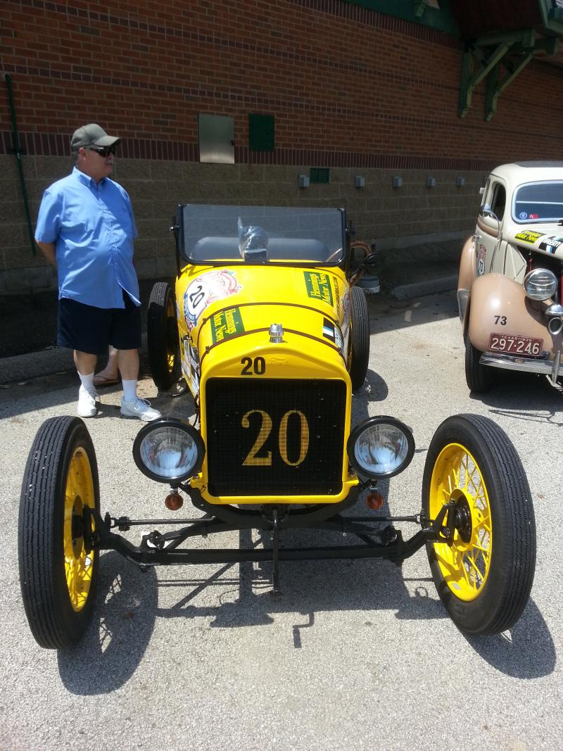 Kirk and Rita Hill's 1920 Ford Model T Speedster next to the Gateway Building