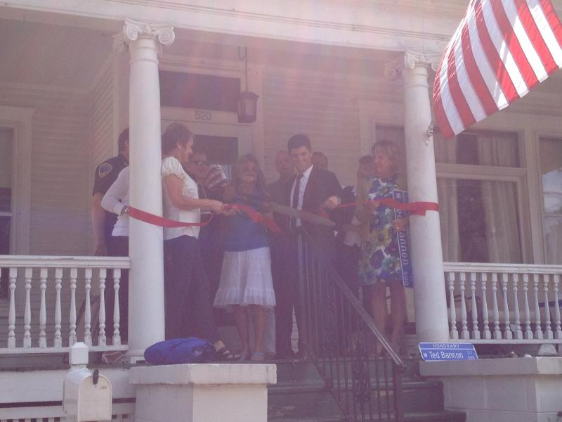 Ribbon cutting for the Resident Officer Program at the former Bannon home.