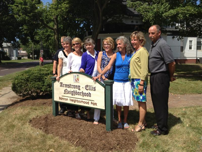 Some of the eleven children of Ted and Rosemary Bannon at the park dedication.