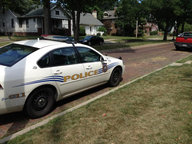 Resident Officer Ryan Winkle's police car sits on Armstrong Street.