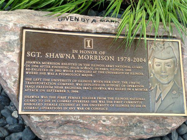 A stone marker located in the courtyard of Lincoln Hall at the University of Illinois at Urbana-Champaign is left to pay tribute to Shawna Morrison.