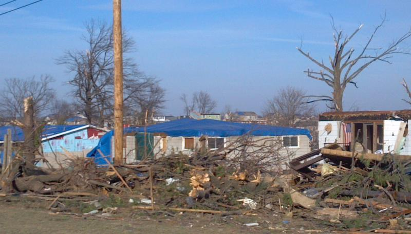 Homes are tarped November 29, 2013 in Washington, Illinois in the aftermath of the EF4 November 17th tornado.