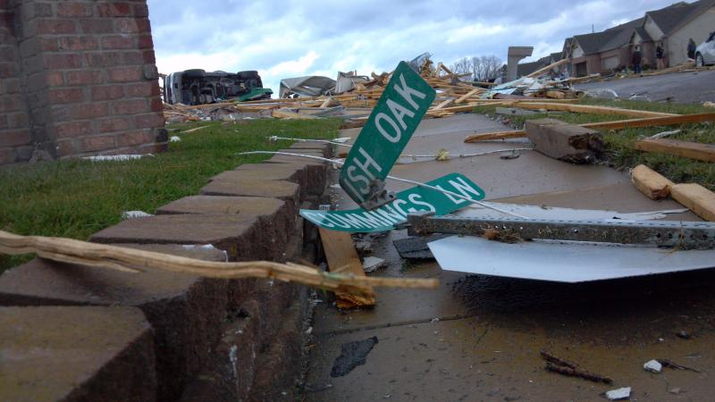An intersection in Washington Sunday afternoon following the late morning tornado.