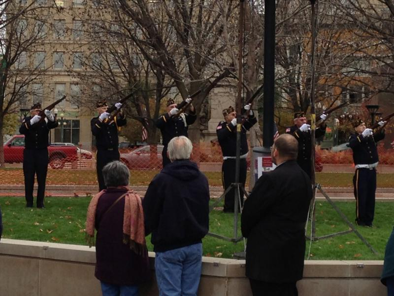 Rifle salute during Veterans Day ceremony at Peoria County Courthouse