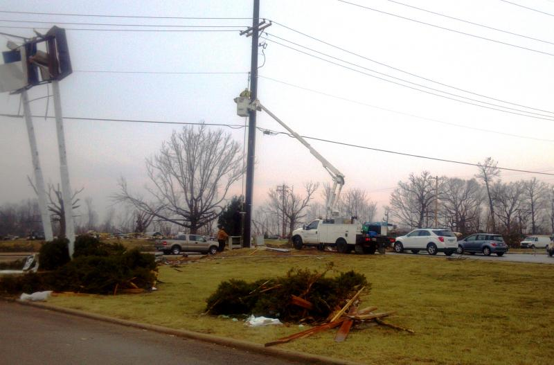 Utility work continues after the EF4 tornado struck Washington, Illinois, November 17, 2013. This photo was taken Monday, December 2, 2013.