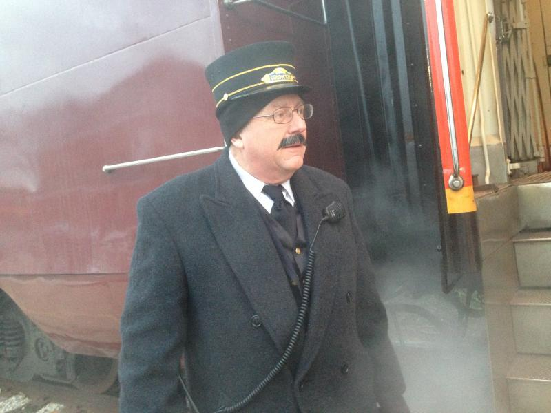 John Sciutto helped organize this year's Polar Express event in Monticello, Ill., and he served as a conductor on the train.
