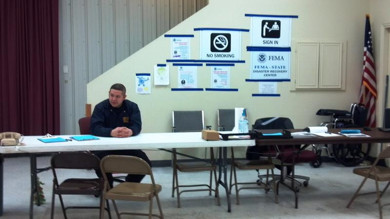 The sign-in desk at the FEMA Disaster Recovery Cener in East Peoria.