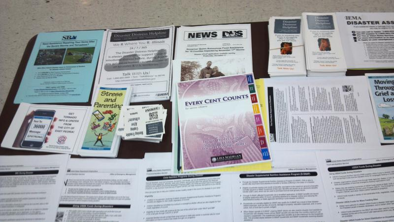 Some of the information available at the FEMA Disaster Recovery Center in East Peoria.