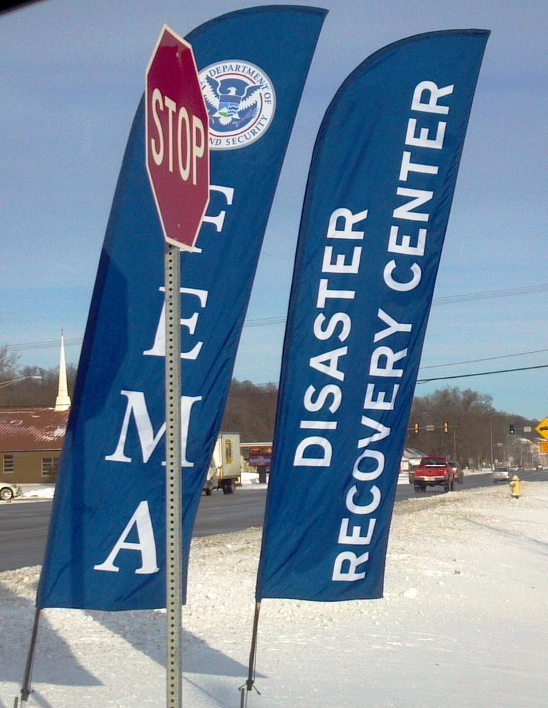 The entrance of the FEMA help center in East Peoria.