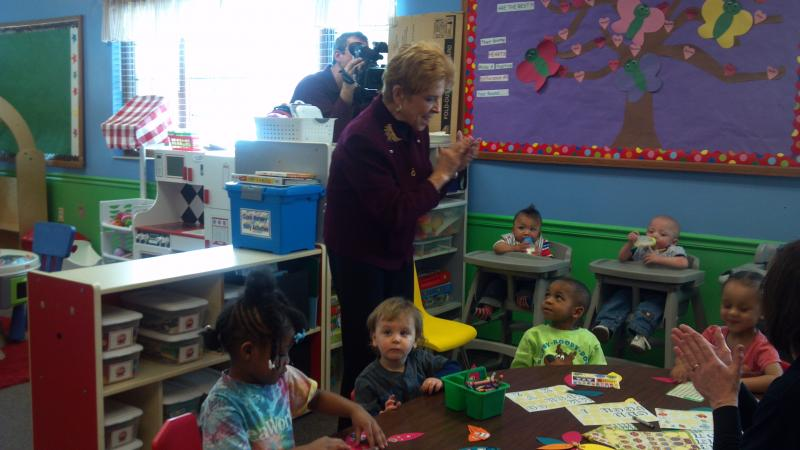 Illinois State Comptroller Judy Baar Topinka visits with the youngsters at Crittenton Centers. The Comptroller was touring the facility after speaking with the press about the importances of state funding for human service focused nonprofit agencies.