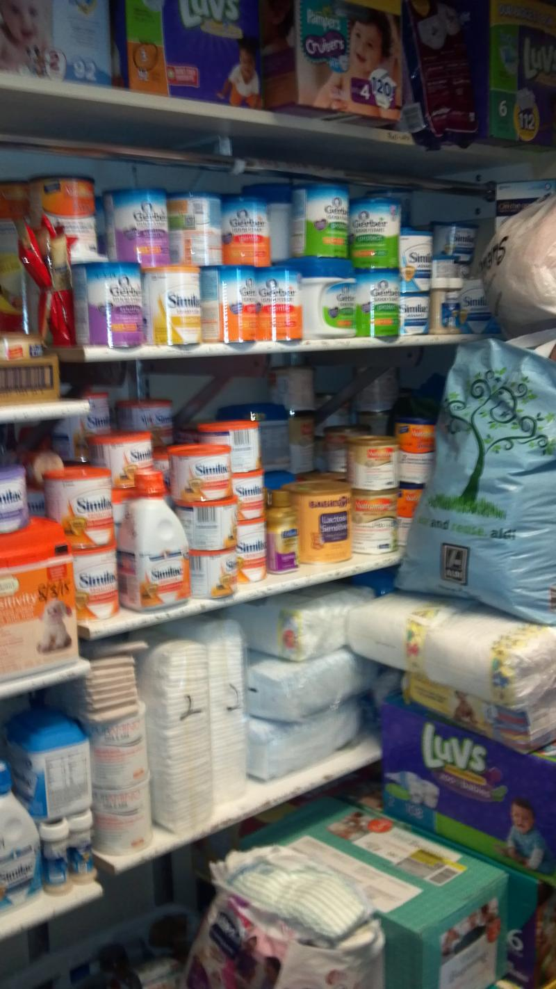 The closet of diapers and formula constitue less than a week's supply for the Crittenton Centers.  The agency cares for children birth to pre-k who's parents qualify for the subsidized childcare.  It's also home to the crisis nursery.