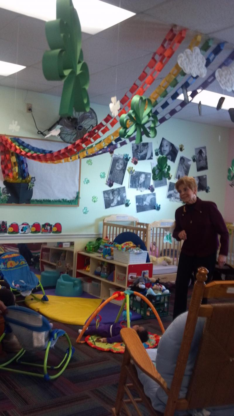 One of the daycare rooms at Crittenton Centers is colorful and fun decked-out with St Patrick's Day themed decorations. The rainbow with the pot of gold was a bit humor for the Comptroller who pays the state's bills.