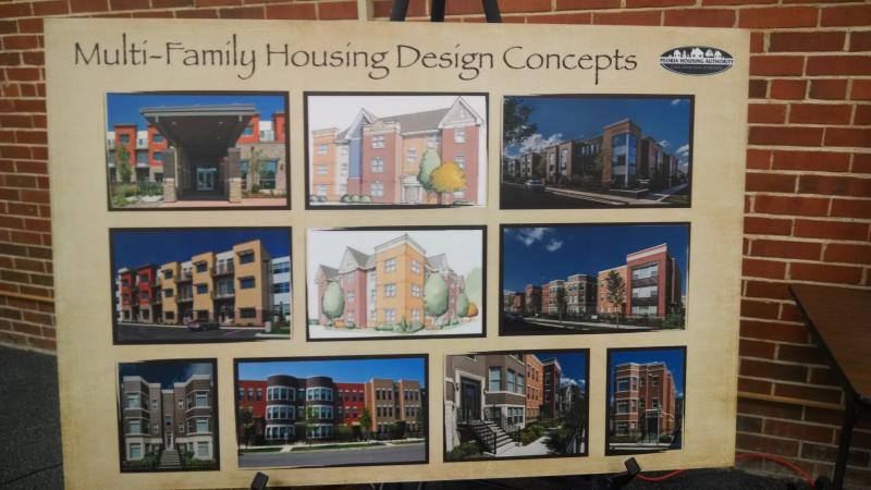 Picture board examples of what an apartment complex might look like at 3732 Brandywine Drive .