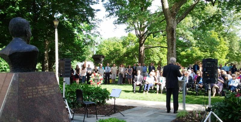 The Reagan Peace Garden ceremony at Eureka College.