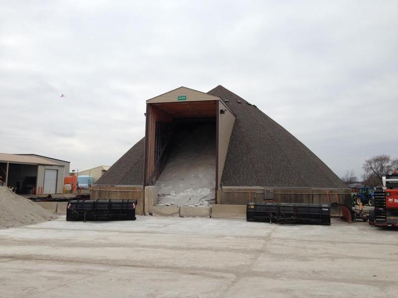 Salt storage facility at the Illinois Department of Transportation Morton Maintenance Yard.