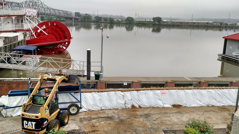The Rapid Instalation Barrie being constructed near the Spirit of Peoria at the Illinois River's edge.