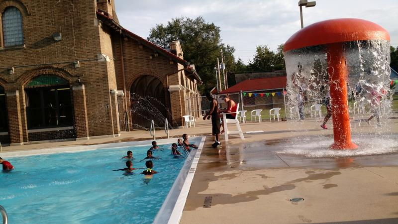 South Side residents cool off at the Proctor Recreation Center during national Night Out Against Crime