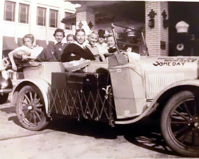 The Silver Streak and coeds packed and on the road in 1937