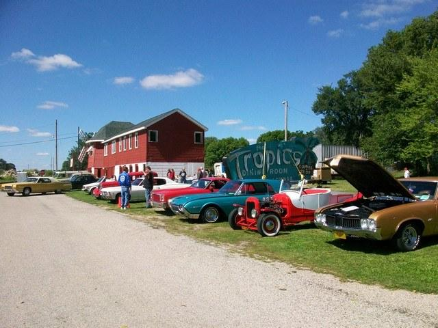 Classic cars make a fitting display for The Mill, once a busy roadside cafe along U.S. Route 66 in Lincoln.