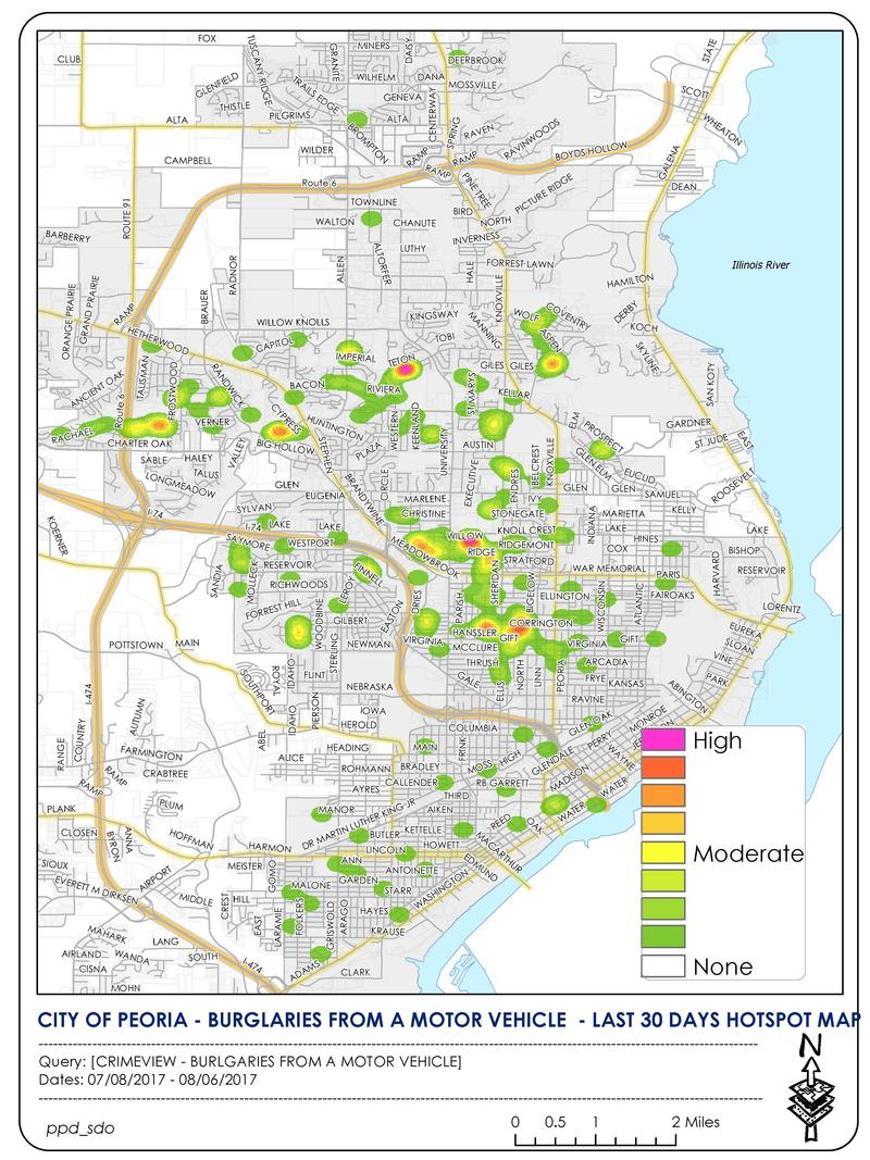 Peoria Crimeview Hotspot mapping the general areas of car burglaries in the last 30 days.