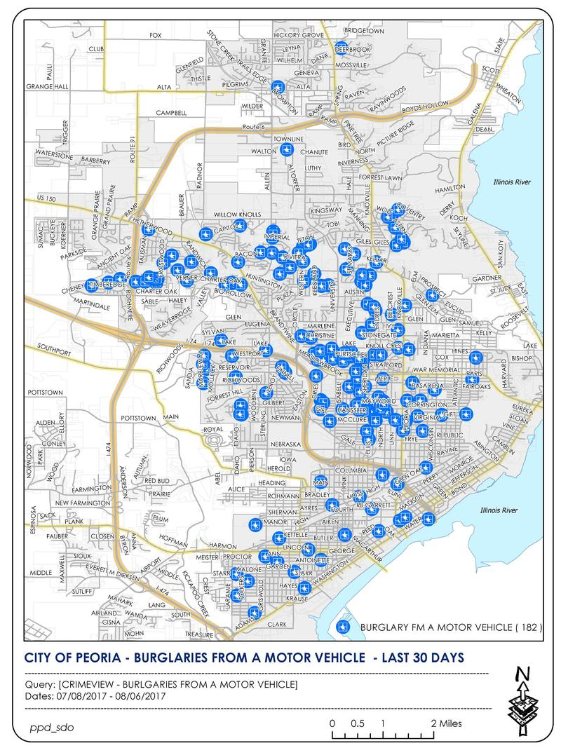 Peoria Crimeview map of the locations of car burglaries in the last 30 days.