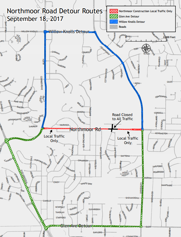 Detour route info for Northmoor Rd.