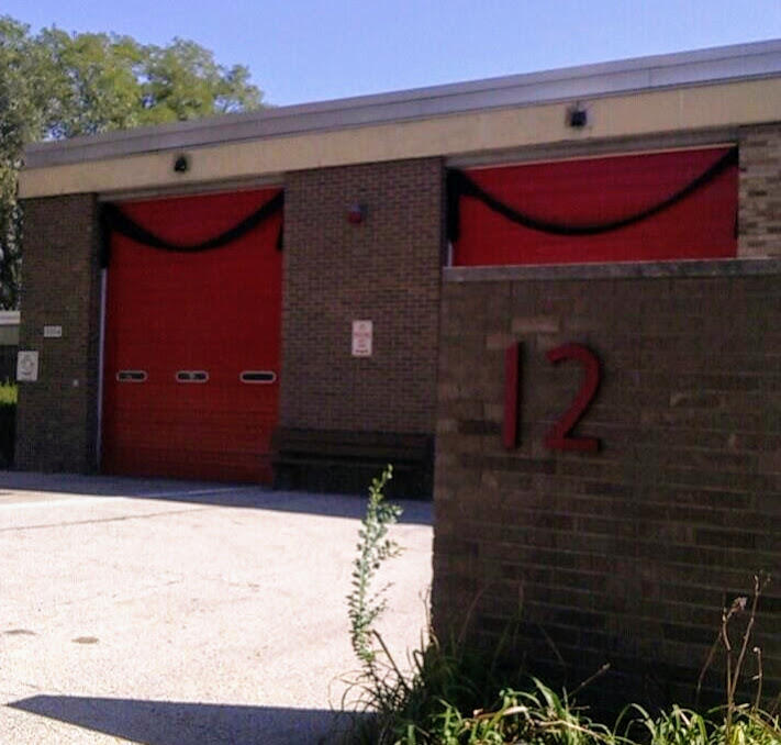 Peoria Fire Station 12 also wears bunting Friday, September 29, 2017. It's the fire house at which firefighters say Stauthammer most enjoyed working.