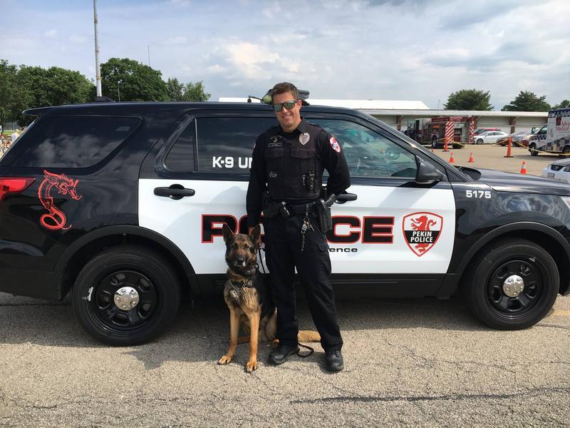 Pekin K9 officer Ahen with his handler, Officer Rob Jones.