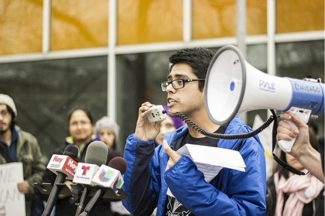Luis Gomez speaks at a pro-immigration rally in Chicago last year.