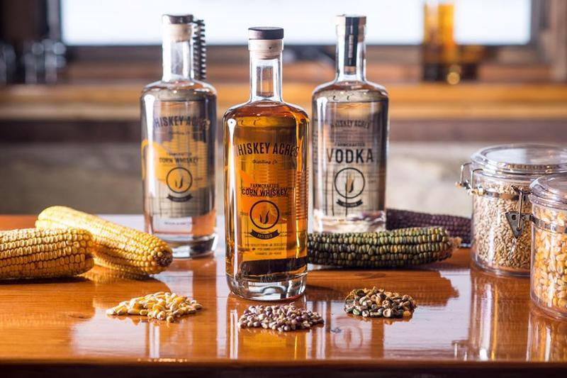 Some of the available spirits at Whiskey Acres include Vodka, Corn Whiskey, and Bourbon (available in a few years.)
