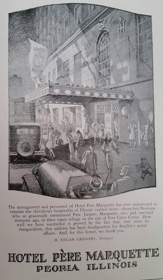 This 1933 advertisement depicts the Pere Marquette Hotel as a downtown fixture, as it has been since 1927.
