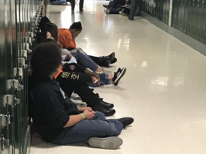 Students at Richwoods High School participate in the sit-in.