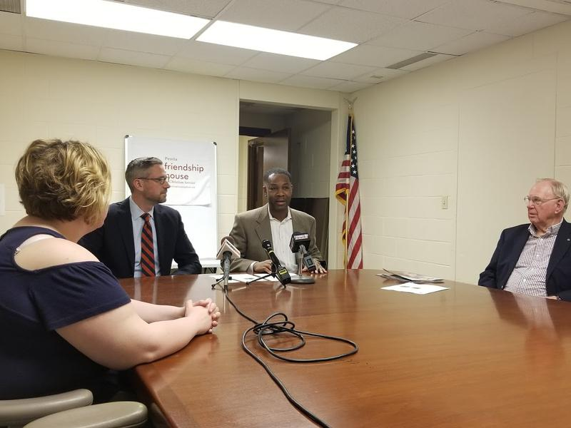 Friendship House Executive Director Robert Montgomery, Illinois State Treasurer Michael Frerichs, and Friendship House board members met with reporters Wednesday.