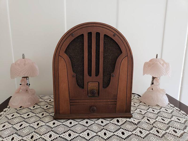 A classic 'cathedral' radio from the 1930s is right at home in the LeTourneau house.