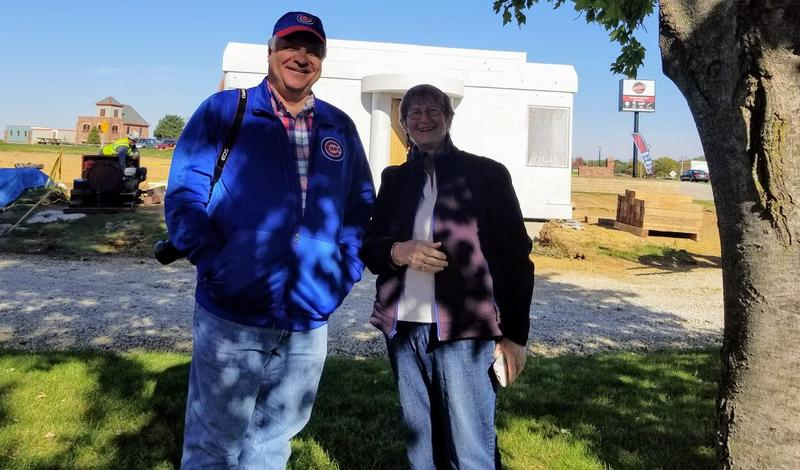 Project Manager Mark Johnson and Museum Site Manager Marcia Johnson standing in front of The Steel House. (October, 2017)