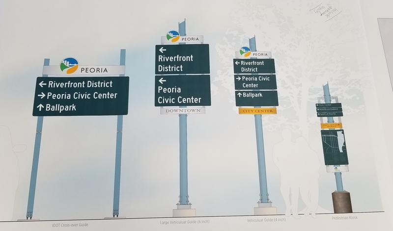 Peoria wayfinding concepts by Michigan-based Corbin Design were unveiled on June 5, 2018.