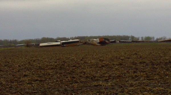 Train derailment south of Laura Illinois