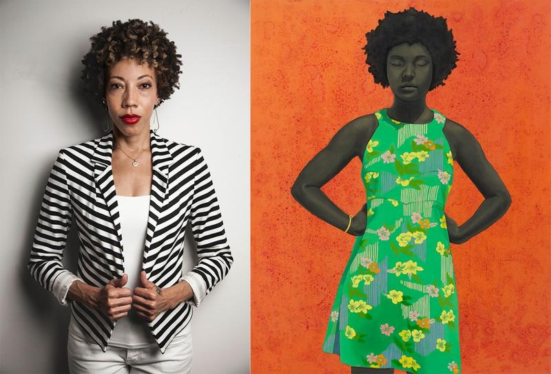 "Artist Amy Sherald, left, with one of her paintings, right, ""The Make Believer (Monet's Garden)"" (2016), oil on canvas, 54 x 43 inches. (Private Collection, Chicago). (all images courtesy the artist and Monique Meloche Gallery, Chicago)"