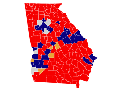 5 Pivot Counties in Georgia voted for Donald Trump in the 2016 election after previously voting for Barack Obama in 2012 and 2008.