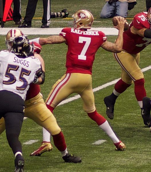 San Francisco 49ers quarterback Colin Kaepernick attempts a pass in Super Bowl XLVII