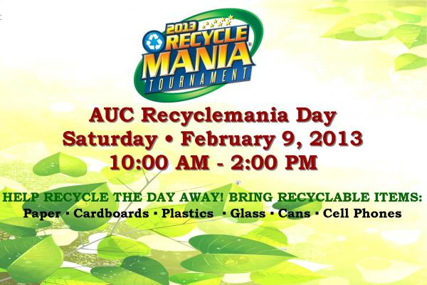 AUC Recyclemania Day takes place on Saturday, February 9 from 10:00 a.m. until 2:00 p.m. in the Milligan Parking Lot on the campus of Spelman College, 440 Westview Dr., SW, Atlanta 30310.