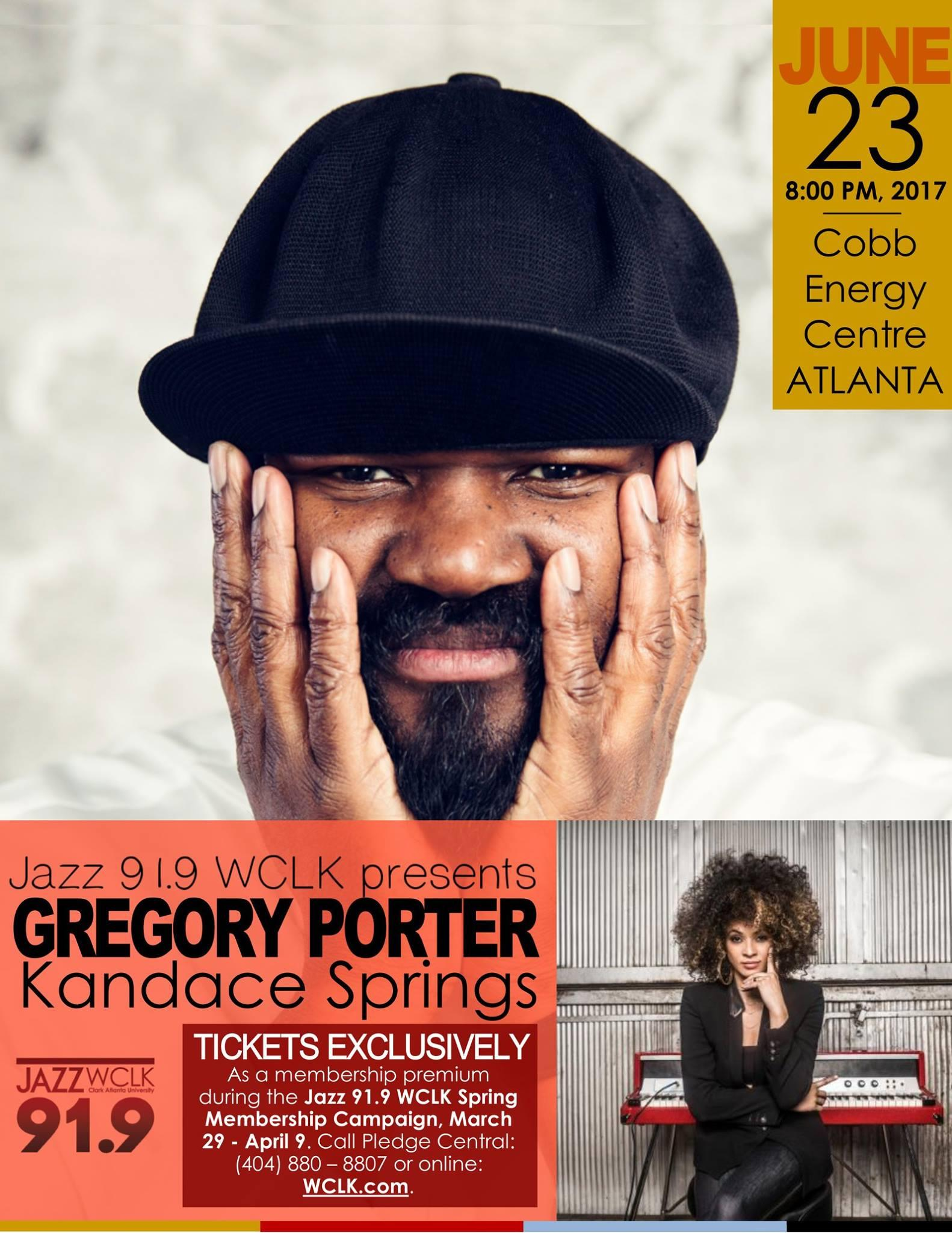 gregory porter kandace springs headline benefit concert wclk jazz 91 9 atlanta s jazz station presents grammy award winning vocalist gregory porter along singer and pianist kandace springs on friday