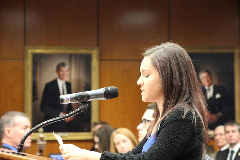Nassar survivor Kaylee Lorincz addresses the Board of Trustees.