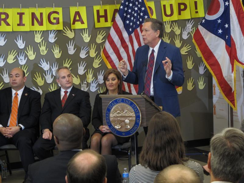 From left to right: House Speaker Cliff Rosenberger (R-Clarksville), Senate President Keith Faber (R-Celina), Lt. Gov. Mary Taylor and Gov. John Kasich