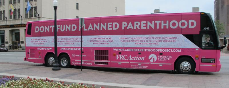 DeFund Planned Parenthood Bus at Ohio Statehouse in 2015