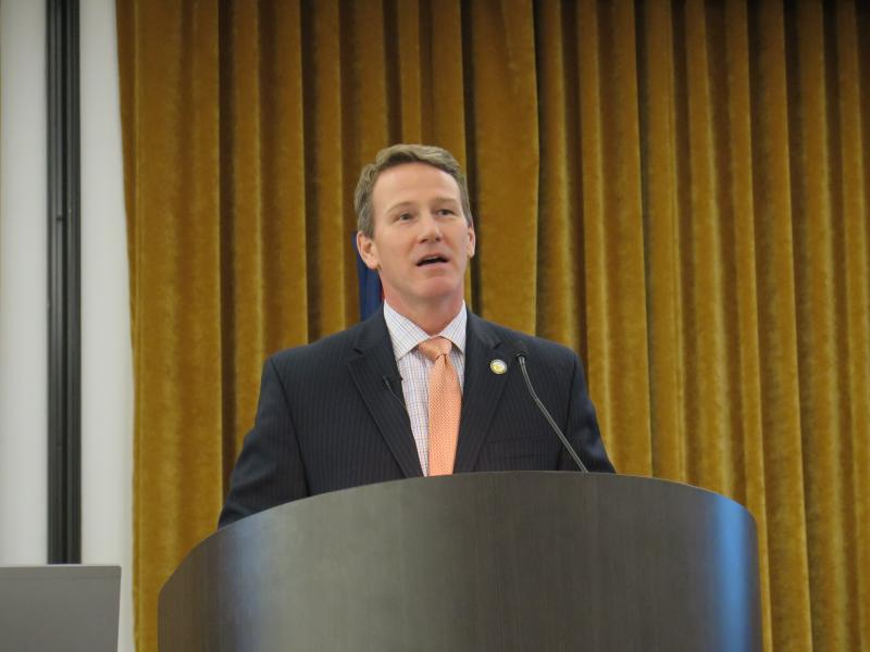 Secretary of State Jon Husted speaks to the winter conference of the Ohio Association of Elections Officials.