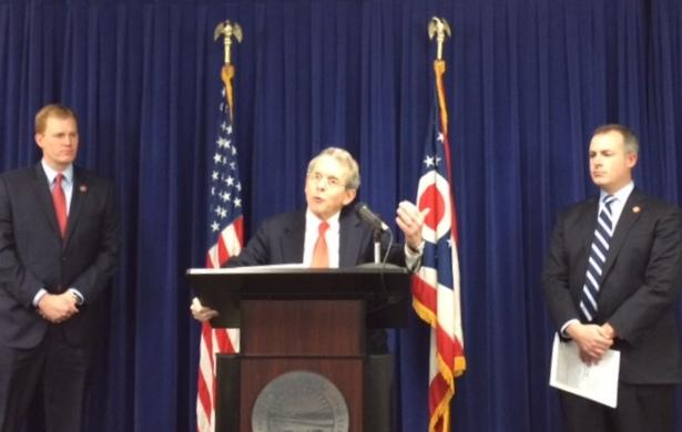 Left to Right: State Rep. Ryan Smith (R), Attorney General Mike DeWine (R), State Rep. Robert Sprague (R)
