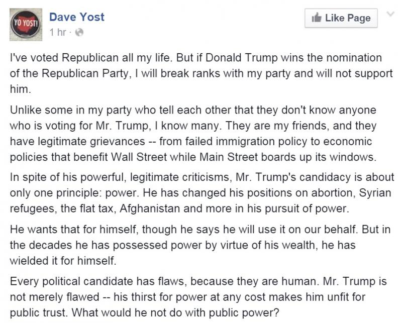 Part of Ohio Auditor Dave Yost's Facebook post on Donald Trump