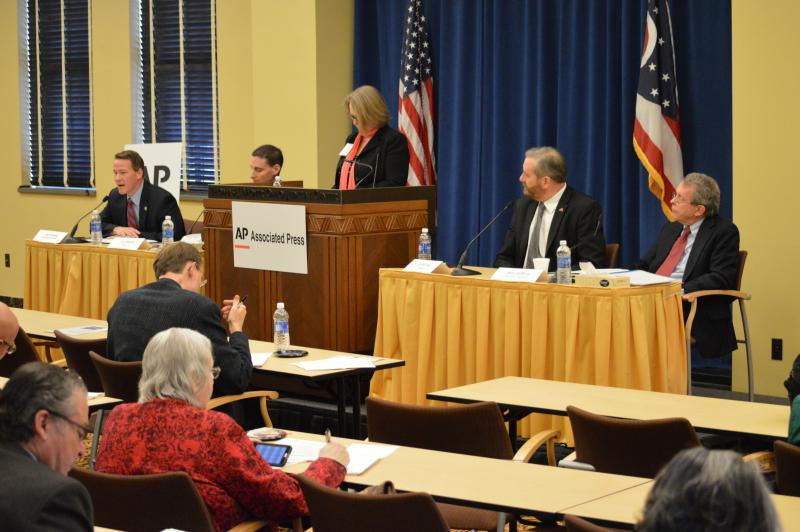 The Ohio AP's Julie Carr-Smyth (center) moderates a panel with (l-r) Secretary of State Jon Husted, Treasurer Josh Mandel, Auditor Dave Yost and Attorney General Mike DeWine