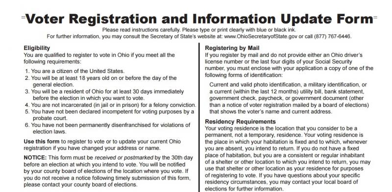 A portion of Ohio's voter registration form